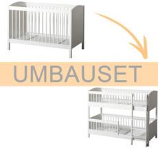 Oliver Furniture Umbauset Seaside Lille+ Baby- und Kinderbett Basic zum halbhohen Etagenbett Weiß