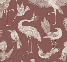 ferm LIVING Tapete Katie Scott Birds Dusty Red