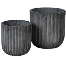 Broste Copenhagen Übertopf Zylinder Charcoal 2er-Set