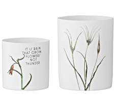Bloomingville Windlichter Flowers on Matte White 2er-Set