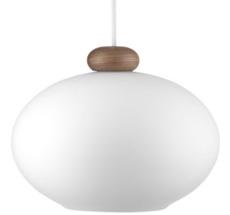 FDB Møbler U2 - Hiti Deckenlampe Walnuss Opalglas/Weißes Kabel