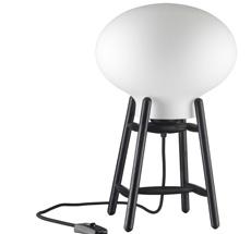FDB Møbler U4 - Hiti Tischlampe Schwarz, Opales Glas, Schwarzes Kabel