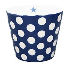 Krasilnikoff Schüssel Happy Bowl Dots Dark Blue L •