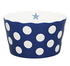 Krasilnikoff Schüssel Happy Bowl Dots Dark Blue M •
