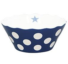 Krasilnikoff Schüssel Happy Bowl Dots Dark Blue S •