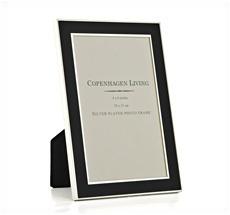 Klassischer Bilderrahmen versilbert/schwarzes Metall 17,5x12,5 cm •