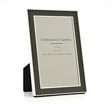 Klassischer Bilderrahmen versilbert/grünes Metall 17,5x12,5 cm •