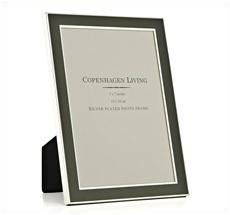 Klassischer Bilderrahmen versilbert/grünes Metall 20x15 cm •
