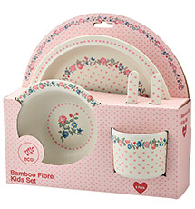GreenGate Kinder-Geschirrset Ruby Petit White 5-teilig •