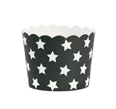 Miss Étoile Backförmchen Schwarz/Weiße Sterne Größe M