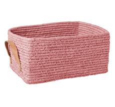 Rice Aufbewahrungskorb rechteckig mit Ledergriff Soft Pink