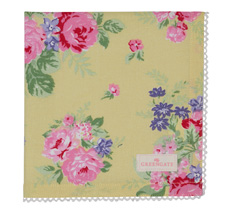 GreenGate Stoffserviette mit Spitze Rose Pale Yellow •