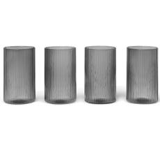ferm LIVING Kleines Glas Ripple Verrines Smoked Grey 4er-Set