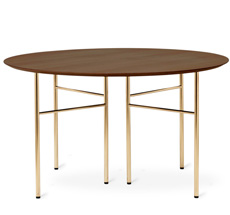 ferm LIVING Tischplatte Mingle Rund 130 cm Walnut Veneer