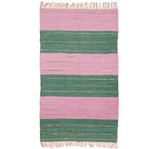 Rice Teppichläufer Baumwolle Green/Pink mit goldenen Details