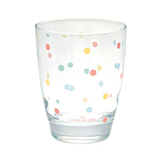 GreenGate Wasserglas Multi dots White