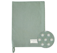 Krasilnikoff Geschirrtuch Micro Dots Dusty Green