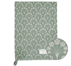 Krasilnikoff Geschirrtuch Bouquet Dusty Green