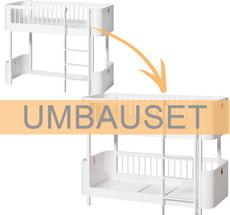Oliver Furniture Umbauset Wood Mini+ halbhohes Hochbett zum halbhohen Etagenbett Weiß
