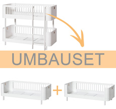 Oliver Furniture Umbauset Wood Mini+ halbhohes Etagenbett zu 2 Juniorbetten Weiß