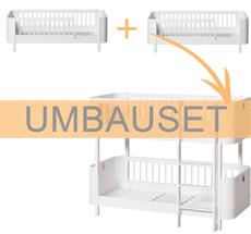 Oliver Furniture Umbauset Wood Mini+ 2 Juniorbetten zum halbhohen Etagenbett Weiß