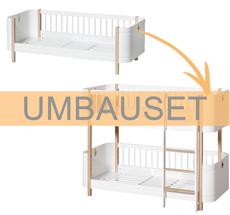 Oliver Furniture Umbauset Wood Mini+ Juniorbett zum halbhohen Etagenbett Weiß/Eiche