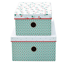 GreenGate Aufbewahrungsbox Christmas Car Red 2er-Set •