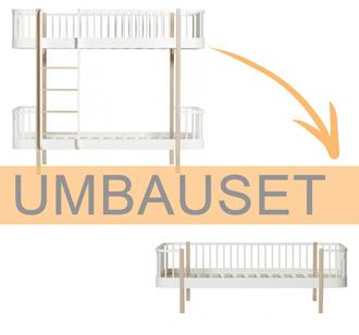 Oliver Furniture Umbauset Wood Etagenbett zum Bettsofa Weiß/Eiche