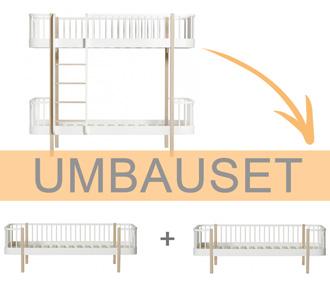 Oliver Furniture Umbauset Wood Etagenbett zu 2 Bettsofas Weiß/Eiche