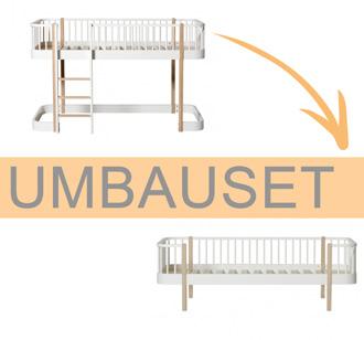 Oliver Furniture Umbauset Wood Halbhohes Hochbett zum Bettsofa Weiß/Eiche