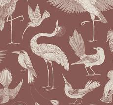 ferm LIVING Tapete Katie Scott Birds Dusty Red
