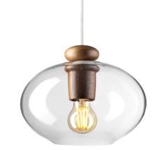 FDB Møbler U2 - Hiti Deckenlampe Walnuss Klares Glas/Weißes Kabel