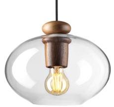 FDB Møbler U2 - Hiti Deckenlampe Walnuss Opalglas/Schwarzes Kabel
