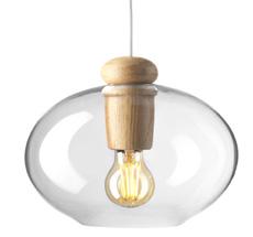 FDB Møbler U2 - Hiti Deckenlampe Natur/Klarglas, Weißes Kabel
