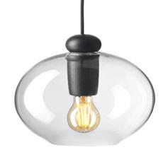 FDB Møbler U2 - Hiti Deckenlampe Schwarz/Klarglas, Schwarzes Kabel