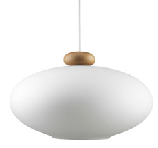 FDB Møbler U3 - Hiti Pendulum Deckenlampe Natur, Opales Glas, Weißes Kabel