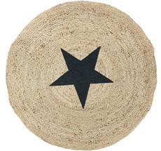 IB LAURSEN Teppich rund natur Jute mit schwarzem Stern