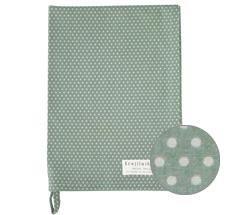 Krasilnikoff Geschirrtuch Micro Dots Dusty Green