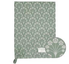 Krasilnikoff Geschirrtuch Bouquet Dusty Green