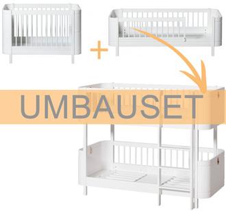 Oliver Furniture Umbauset Wood Mini+ Basic und Geschwisterset zum halbhohen Etagenbett Weiß