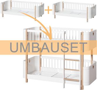 Oliver Furniture Umbauset Wood Mini+ 2 Juniorbetten zum halbhohen Etagenbett Weiß/Eiche