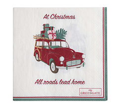 GreenGate Papierserviette Christmas Car White Small 20 Stk.