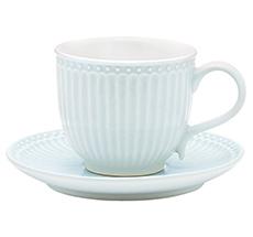 GreenGate Tasse mit Unterteller Alice Pale Blue