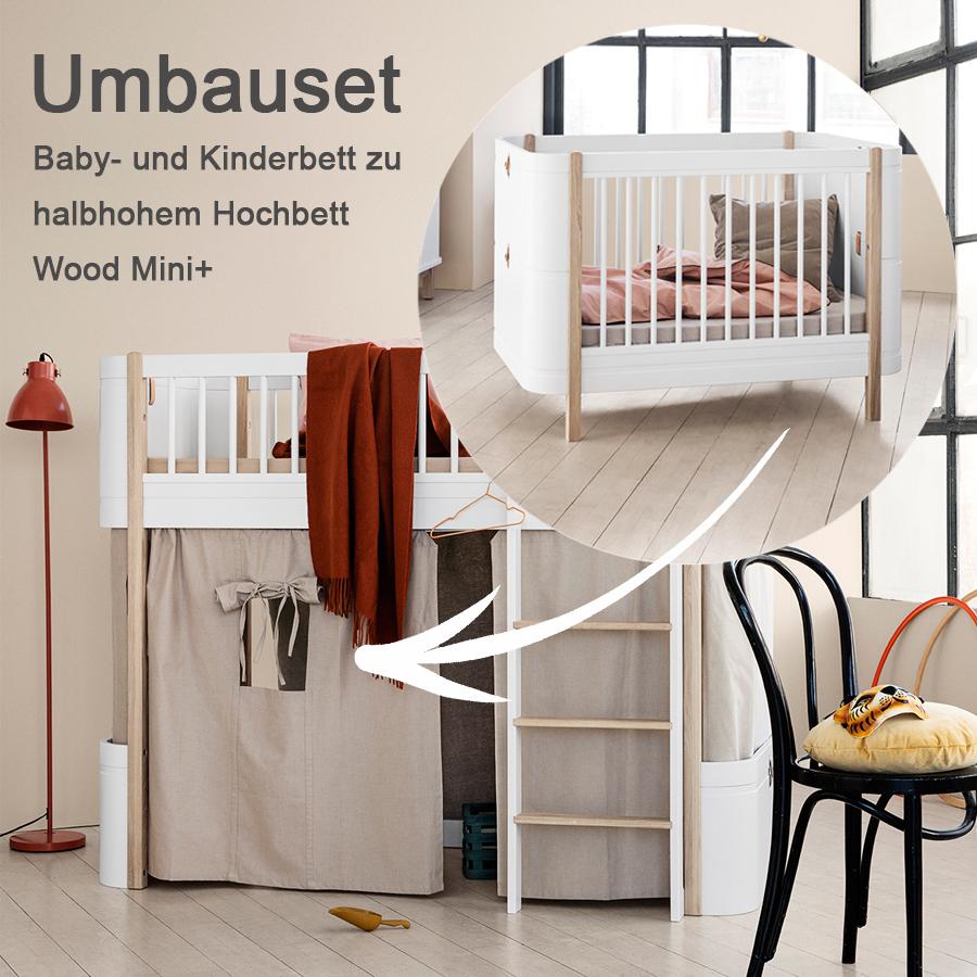 oliver furniture umbauset f r baby und kinderbett wood mini zum halbhohen hochbett wei eiche. Black Bedroom Furniture Sets. Home Design Ideas