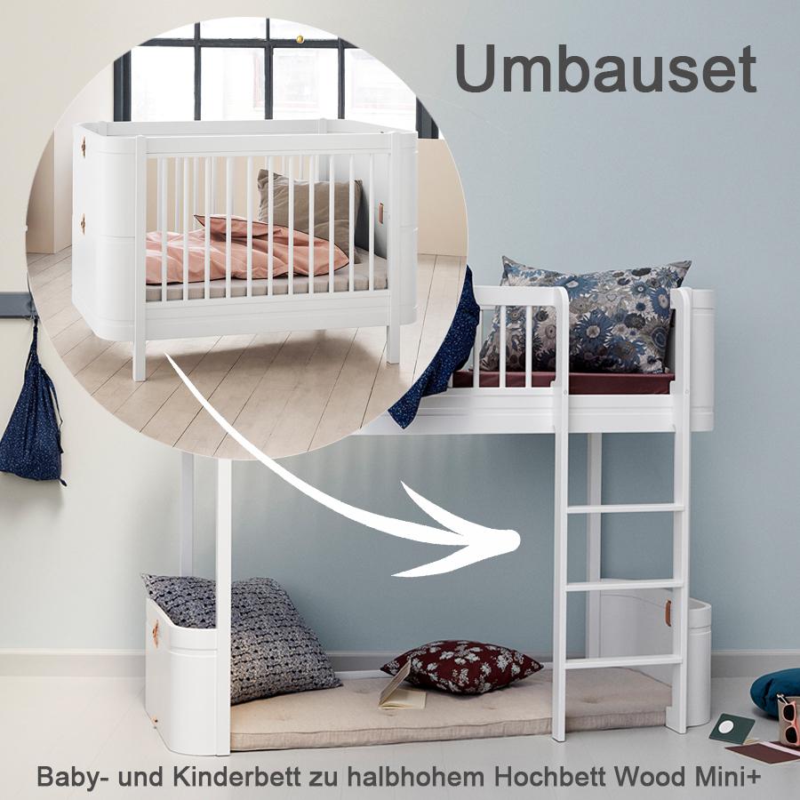 oliver furniture umbauset f r baby und kinderbett wood mini zum halbhohen hochbett wei online. Black Bedroom Furniture Sets. Home Design Ideas