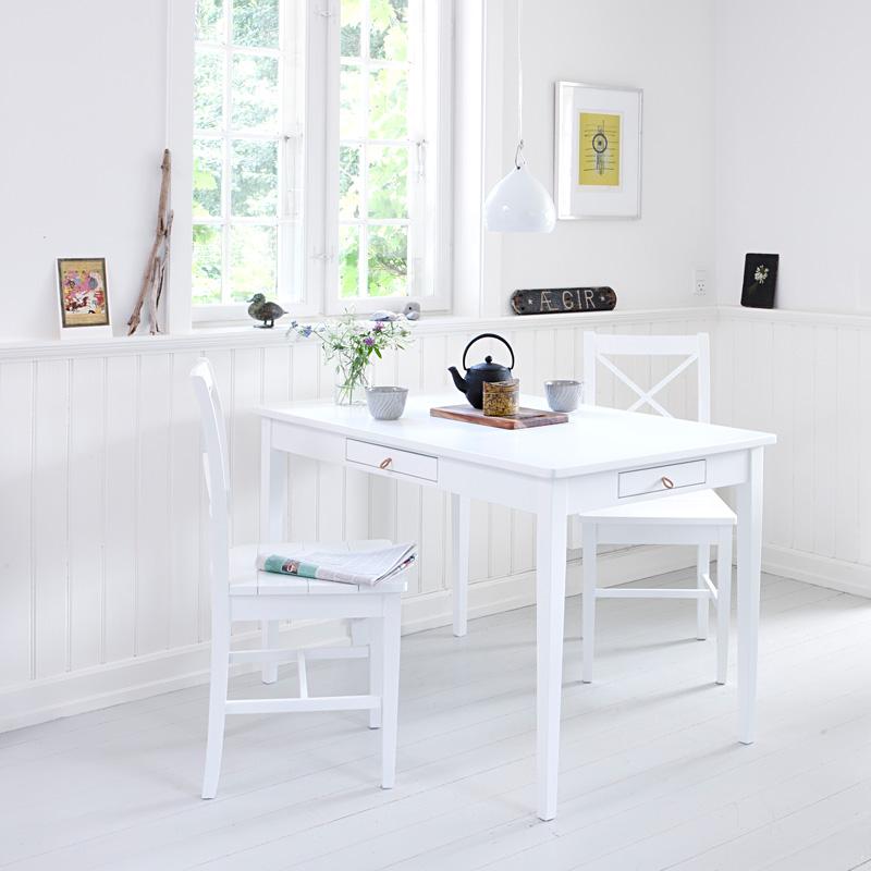 oliver furniture küchentisch mit lederband weiß online kaufen ... - Küche Tisch