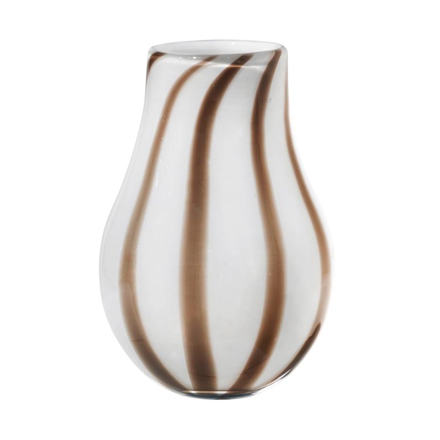 Broste Copenhagen Vase Ada Stripe mundgeblasen Glas Simply Taupe Warm Grey