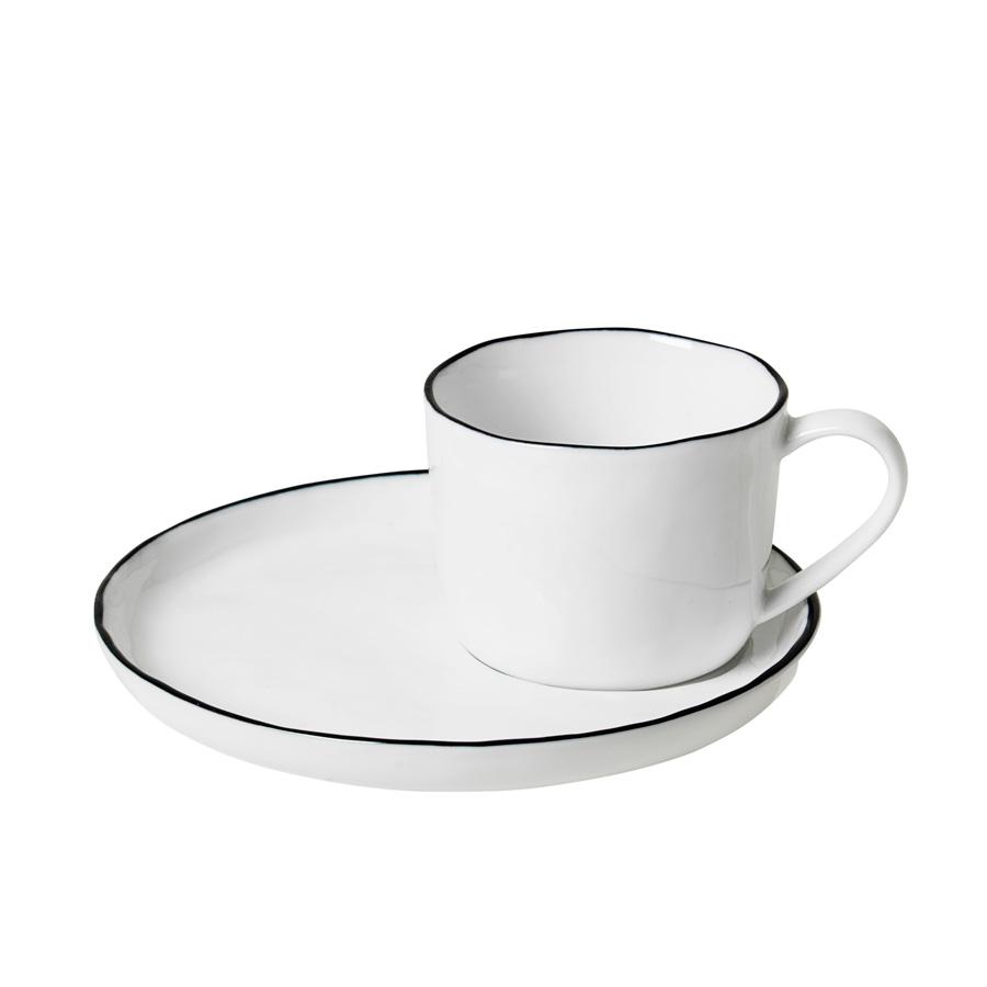 Broste Copenhagen Tasse mit Untertasse Salt S