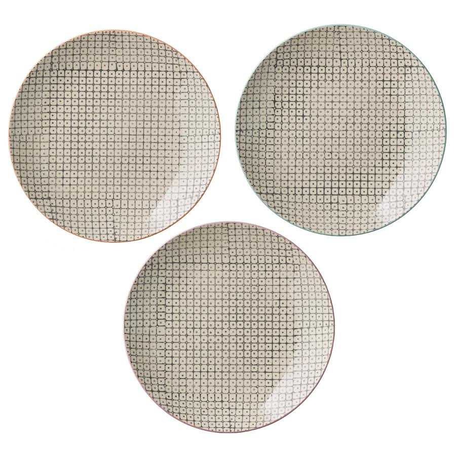 bloomingville porzellan kleiner teller carla grau mit farbrand drei farben zur auswahl online. Black Bedroom Furniture Sets. Home Design Ideas