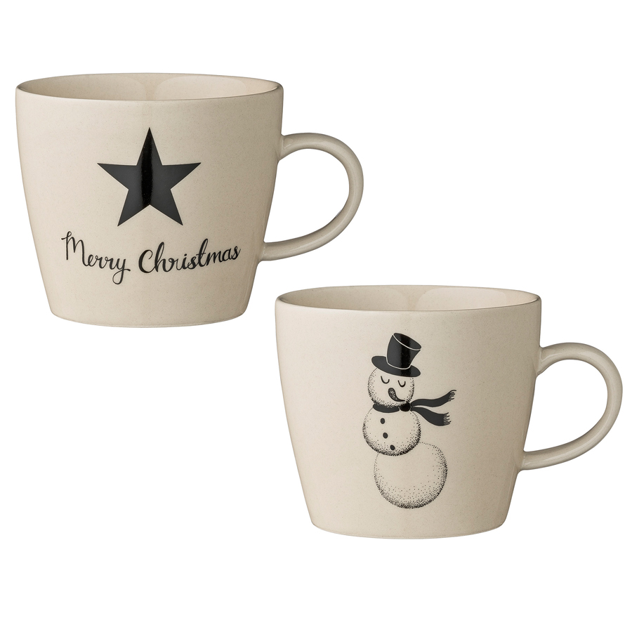 bloomingville tasse star snowman wei schwarz 2er set. Black Bedroom Furniture Sets. Home Design Ideas
